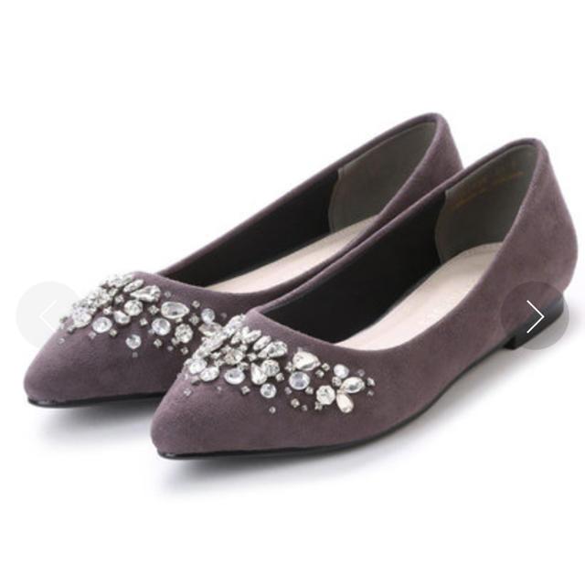 vanitybeauty(バニティービューティー)の新品!ビジューフラットパンプス 23.5cm グレー レディースの靴/シューズ(ハイヒール/パンプス)の商品写真