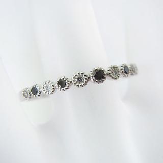 K18WG ブラック/無色 ダイヤモンド リング 19号[f412-8] (リング(指輪))