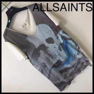 オールセインツ(All Saints)の◆レア◆ALLSAINTS オールセインツ◆Tシャツ 水彩スカル Uネック XS(Tシャツ/カットソー(半袖/袖なし))