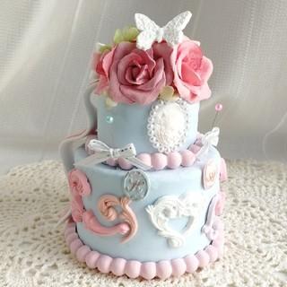 ピンク&ブルー2段ケーキ リングピローにも(リングピロー)