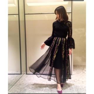フレイアイディー(FRAY I.D)のフレイアイディー エンブロイダリー 刺繍チュールスカート(ロングスカート)