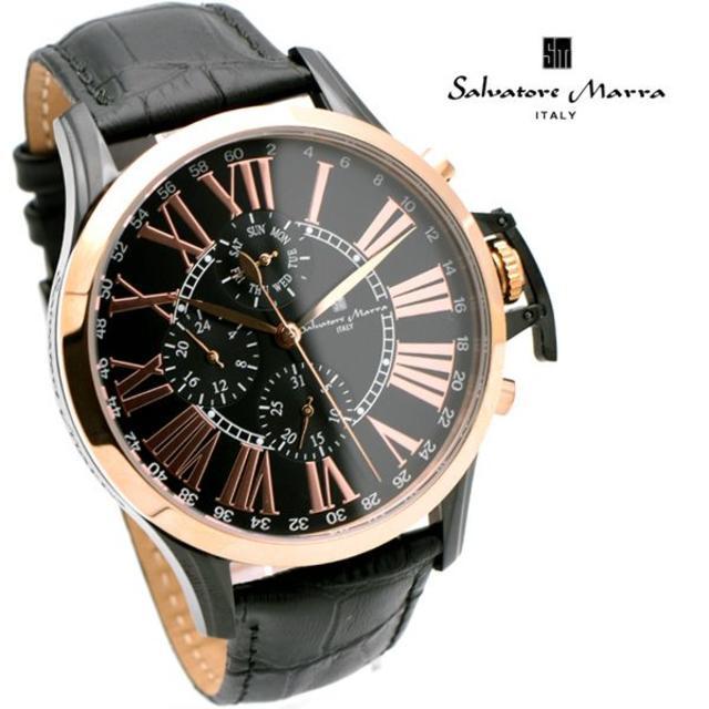 Salvatore Marra(サルバトーレマーラ)のサルバトーレマーラ 腕時計 メンズ ブラック ピンクゴールド ブランド メンズの時計(腕時計(アナログ))の商品写真