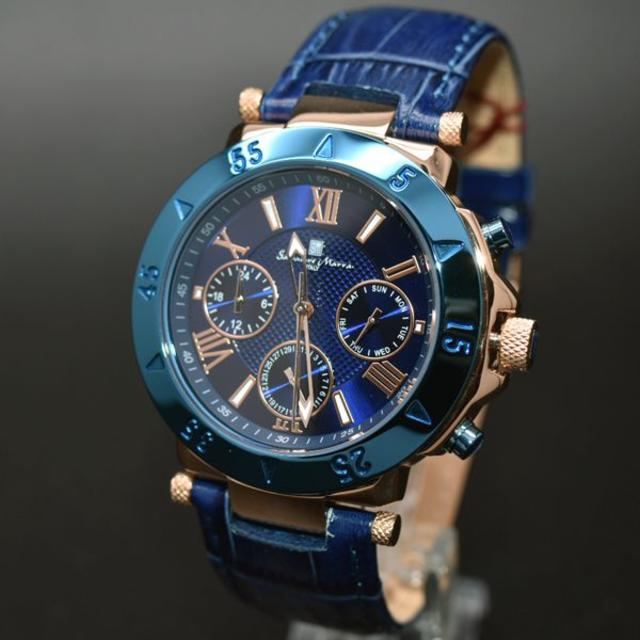 Salvatore Marra(サルバトーレマーラ)のサルバトーレマーラ 腕時計 メンズ 人気 ブランド 時計 ブルー 青 メンズの時計(腕時計(アナログ))の商品写真