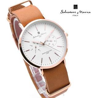 サルバトーレマーラ(Salvatore Marra)のサルバトーレマーラ 腕時計 メンズ ホワイト ブラウン レザー 革ベルト(腕時計(アナログ))