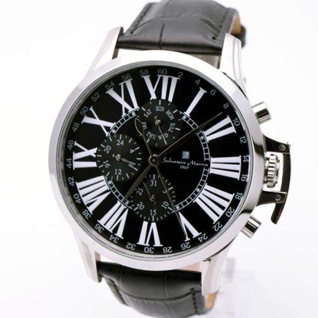 Salvatore Marra(サルバトーレマーラ)のサルバトーレマーラ 腕時計 メンズ ブラック 黒 人気 革 ブランド 時計 メンズの時計(腕時計(アナログ))の商品写真