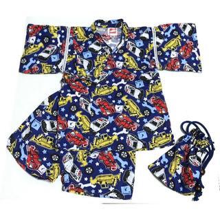 100サイズ 甚平 トミカ 巾着付き / 車 ブルー 青 ネイビー 紺 / 中古(甚平/浴衣)