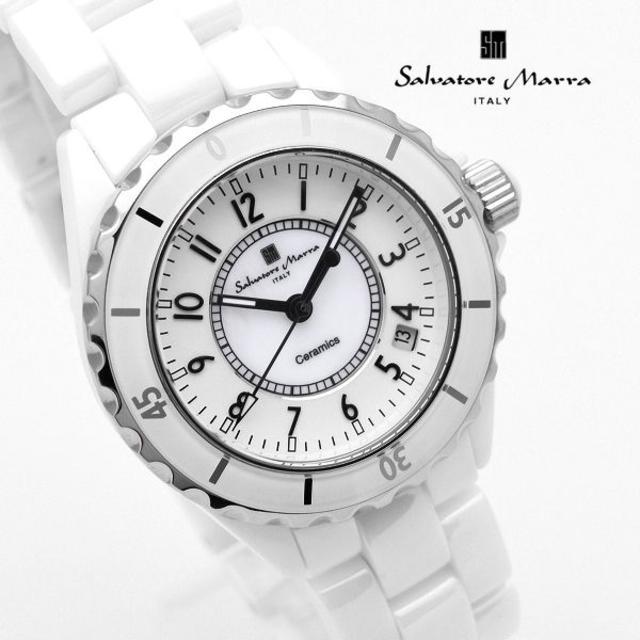 Salvatore Marra(サルバトーレマーラ)のサルバトーレマーラ 腕時計 メンズ ブランド 時計 ホワイト 白 メンズの時計(腕時計(アナログ))の商品写真