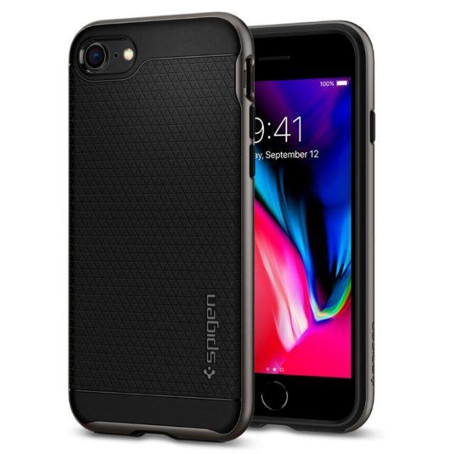 Spigen(シュピゲン)の米国ブランド iPhone8/7/8Plus ケース ヘリンボーン ガンメタ スマホ/家電/カメラのスマホアクセサリー(iPhoneケース)の商品写真
