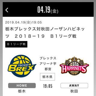 4/19(金) 栃木ブレックス vs 秋田ノーザンハピネッツ 1階席(バスケットボール)