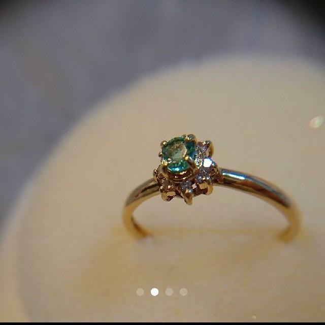 【美品】K18金ダイヤモンド8粒リング★グリーンアパタイト?【刻印あり】 レディースのアクセサリー(リング(指輪))の商品写真