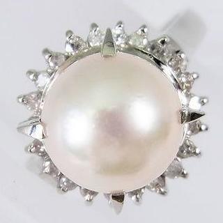 Pt900 天然アコヤ本真珠ダイヤモンド リング 13号[f433-4](リング(指輪))