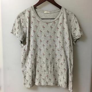 ジーユー(GU)のGU フラミンゴ柄 半袖 Tシャツ XLサイズ(Tシャツ(半袖/袖なし))