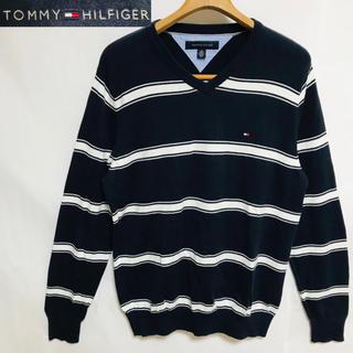 トミーヒルフィガー(TOMMY HILFIGER)のTOMMY HILFIGER トミーヒルフィガーロゴマークボーダーVネックニット(ニット/セーター)