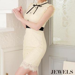 ジュエルズ(JEWELS)のハイネック/リボン総レース/ウエストライン   キャバドレス   ドレス(ナイトドレス)
