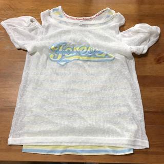 シマムラ(しまむら)のタグなし水通しのみ未着用160オフショル ボーダータンク2枚組(Tシャツ/カットソー)