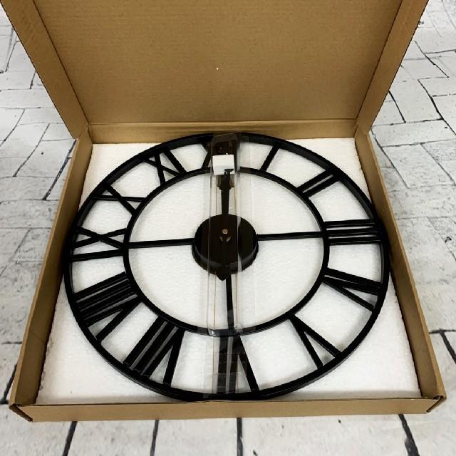 アイアンフレーム壁掛け時計 ウォールクロック ゆうパック インテリア/住まい/日用品のインテリア小物(掛時計/柱時計)の商品写真