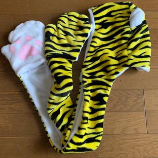 ハンシンタイガース(阪神タイガース)の阪神タイガース 虎ウィン グッズ 虎の手袋付きマフラー(応援グッズ)