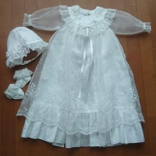 ファミリア(familiar)の美品 familiarベビードレス&ミキハウス靴下(セレモニードレス/スーツ)
