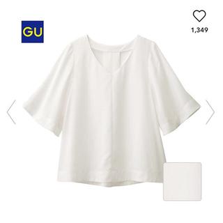 ジーユー(GU)のgu フレアスリーブVネックブラウス 5分丈(シャツ/ブラウス(半袖/袖なし))