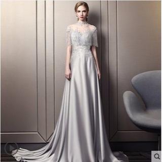 5dac5a9ae5e5d カラードレス グレー ハンドビーディング トレーン 高品質 エレガント 結婚式 (ウェディングドレス