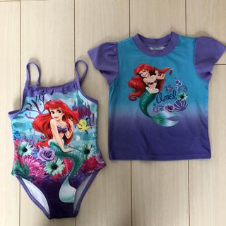 ディズニー(Disney)のアリエル ワンピース 水着 & ラッシュガード セット 3歳(水着)