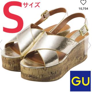 ジーユー(GU)のGU コルクプラットフォームサンダル ウェッジ S ゴールド(サンダル)