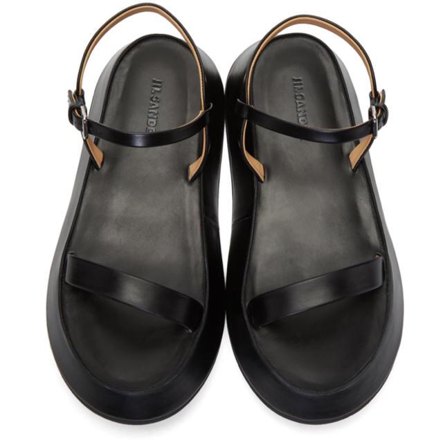Jil Sander(ジルサンダー)の【2019SS人気商品】Jil Sanderブラック フラットフォーム サンダル レディースの靴/シューズ(サンダル)の商品写真