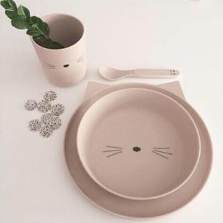 キャラメルベビー&チャイルド(Caramel baby&child )のひろろ様専用⇨Liewood キャットデザイン 食器4点SET/お食事マット×2(離乳食器セット)