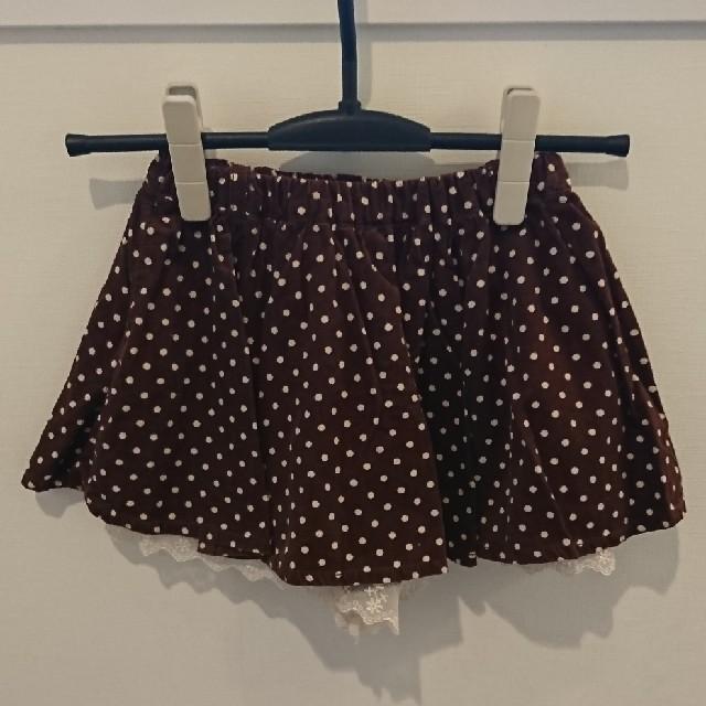 しまむら(シマムラ)のブラウン ドットスカート キッズ/ベビー/マタニティのキッズ服 女の子用(90cm~)(スカート)の商品写真