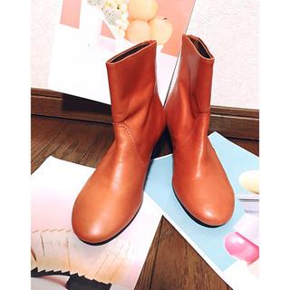 ツモリチサト(TSUMORI CHISATO)のTSUMORI CHISATOアプリコットカラーレザーのショートブーツ(ブーツ)