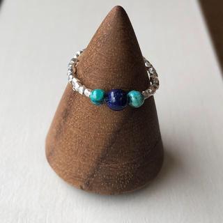 カレンシルバー と天然石のターコイズとラピスラズリのピンキーリング です。(リング(指輪))