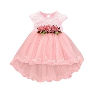 新品キッズドレス ピンク 結婚式 送料無料 お花 レース 95cm100cm(ドレス/フォーマル)