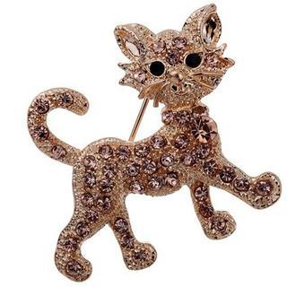 猫ブローチ ねこちゃんブローチ♪ ピンク♪新品未使用品 送料無料 004(ブローチ/コサージュ)