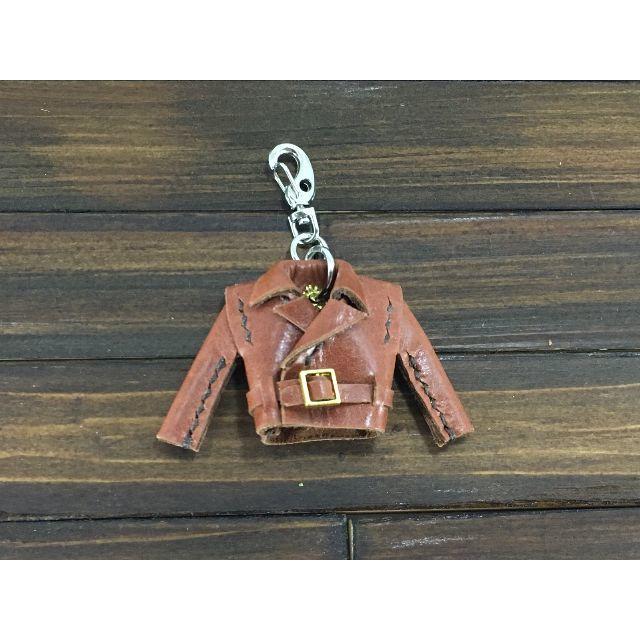 超小さい!本革製親指ライダースジャケット【牛革茶】 ハンドメイドのファッション小物(バッグチャーム)の商品写真