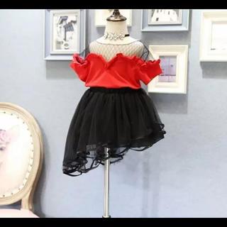 赤セットアップ斜めスカート110.120.130(ワンピース)