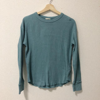 ジーユー(GU)の水色 ワッフルTシャツ(Tシャツ(長袖/七分))