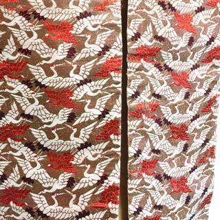 ニシジン(西陣)の西陣織総柄 紅白鶴 半幅帯 タペストリー テーブルセンター 襤褸 ボロ ビズビム(帯)