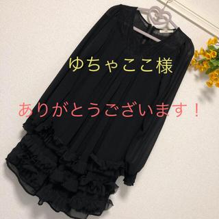 イリーデ(Ra Iride)の長袖 シースルー パーティドレス 黒(ひざ丈ワンピース)