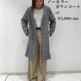 ジーユー(GU)の新品★GU ノーカラーガウンコート Lサイズ(ノーカラージャケット)