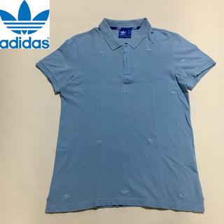 アディダス(adidas)のアディダスオリジナルス ロゴ ポロシャツ ブルー  Lサイズ(ポロシャツ)