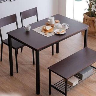 木目調 ダイニングテーブルセット ダークブラウン(ダイニングテーブル)