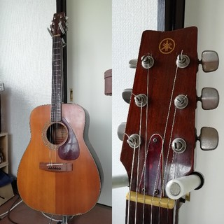 ヤマハ(ヤマハ)のビンテージ YAMAHA アコースティックギター FG-200 緑ラベル(アコースティックギター)