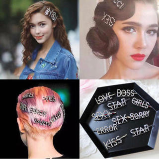 ジーヴィジーヴィ(G.V.G.V.)のSOLAmom様専用❤️流行先取り♪ラインストーンレタリングメッセージヘアピン(ヘアピン)