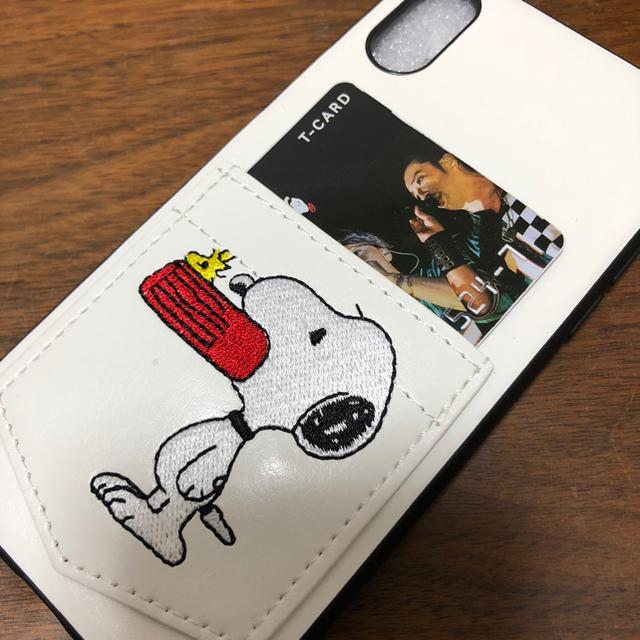 dd6b653181 最安値!! スヌーピー iPhoneX XR ポケット付き レザーケース 白の通販 ...