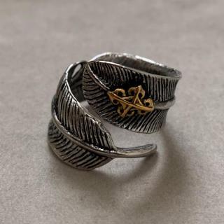 STAINLESS STEEL クロスデザイン フェザーリング 墨(リング(指輪))