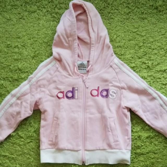 adidas(アディダス)のアディダス ピンク ラメ パーカー 100 キッズ/ベビー/マタニティのキッズ服 女の子用(90cm~)(ジャケット/上着)の商品写真