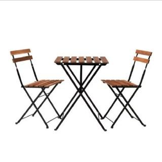 【美品】IKEA IKEA ガーデンテーブル チェア ナチュラル 木目 ウッド(折たたみテーブル)