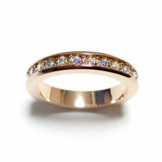 6号 スワロフスキー フルエタニティ オーロラクリア ピンクゴールドリング(リング(指輪))