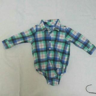 ギャップ(GAP)のGAP チェックシャツ  ロンパース 80(シャツ/カットソー)