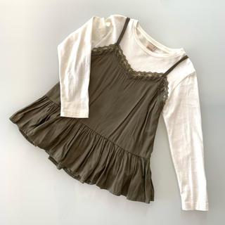 プティマイン(petit main)のプティマイン  キャミソール付きロングTシャツ 120(Tシャツ/カットソー)